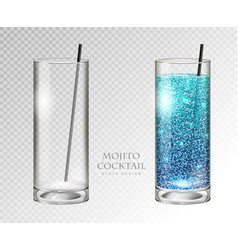 Realistic cocktail mojito vector
