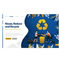 Reuse reduce and recycle with trash cans and vector