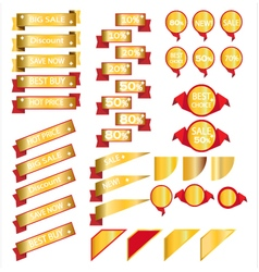Sale gold ribbons isolated on white background vector