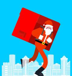santa claus in city many gifts big red bag vector image