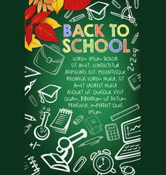 School supplies chalk sketch on blackboard banner vector