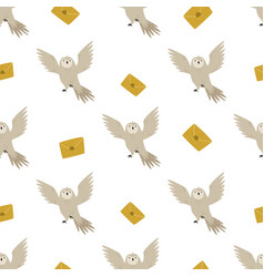 Seamless pattern with cute flying owls and mails vector