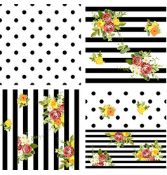 Seamless striped and dots style floral pattern vector