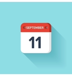 September 11 Isometric Calendar Icon With Shadow vector