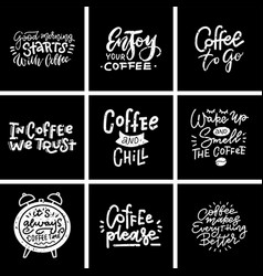 set coffee banner or typography lettering hand vector image