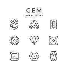 Set line icons gem vector