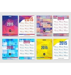 Set of calendar template brochure geometric design vector image