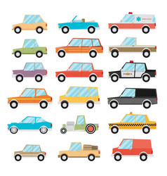 set of cartoon cars flat vector image