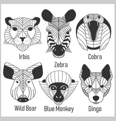 set of polygonal head animals polygonal logos vector image