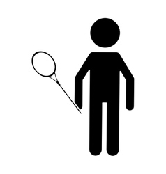 silhouette badminton player racket uniform player vector image
