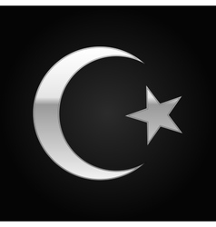 Silver Islam symbol icon on black background vector