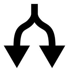 Split Arrows Down Flat Icon vector