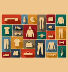 sports clothing equipment and accessories vector image