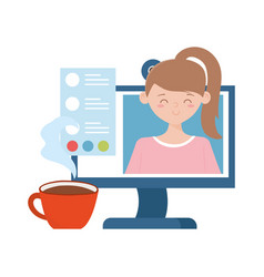 stay at home computer coffee cup girl on screen vector image