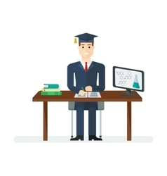 Student sitting at the table vector