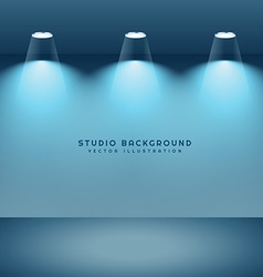 Studio background with three lights vector