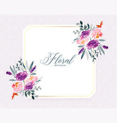 Stylish watercolor flowers decorative background vector
