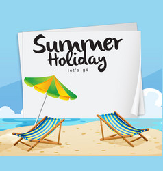summer holiday lets go beach chair umbrella backg vector image