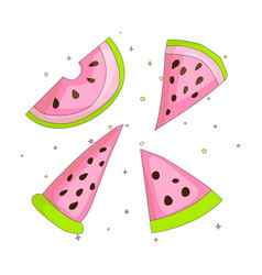 Sweet a slice of watermelon set with green skin on vector