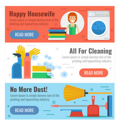 Three banner for cleaning and laundry vector