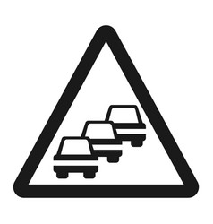 Traffic congestion sign line icon vector