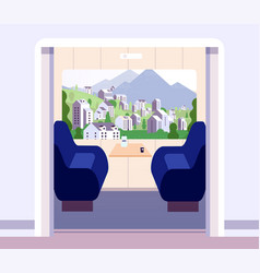 train interior empty trains compartment without vector image
