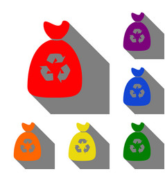 trash bag icon set of red orange yellow green vector image