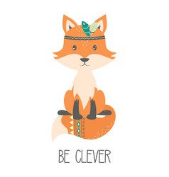 Tribal with cute fox isolated on white vector