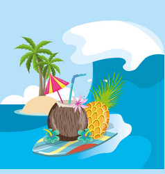tropical beach scenery theme cartoon vector image