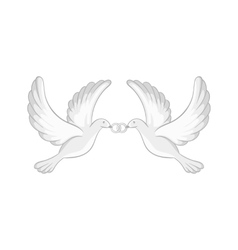 Two white pigeons icon black monochrome style vector