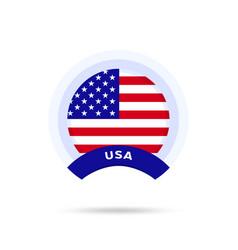 usa national flag circle button icon simple flag vector image