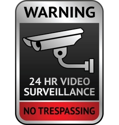 Video surveillance label vector image