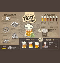 Vintage beer menu design on cardboard vector