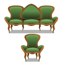 Vintage green furniture armchair and sofa vector