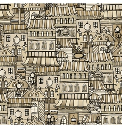 Vintage houses seamless pattern vector