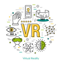 Virtual reality - line art concept vector