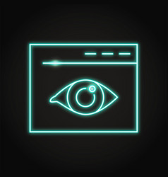 Web visibility icon in neon line style vector