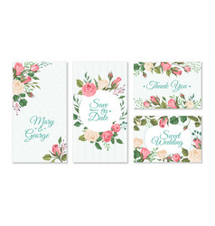 wedding card with roses weddings floral vector image