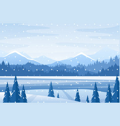 winter landscape christmas mountain snowy nature vector image