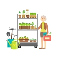 Woman Shopping For Garden Plants Shopping Mall vector