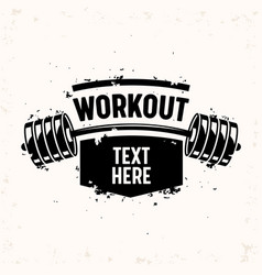 workout banner with barbell creative bodybuilding vector image