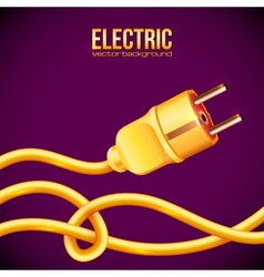 Yellow electric plug and cables vector