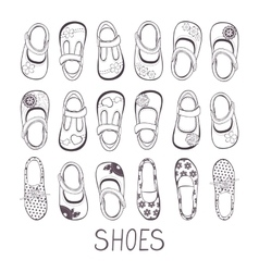 Cute collection of little girls shoes vector
