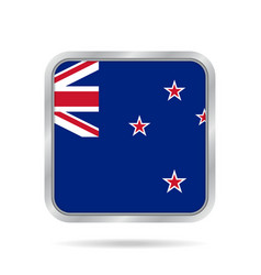 flag of new zealand metallic gray square button vector image vector image