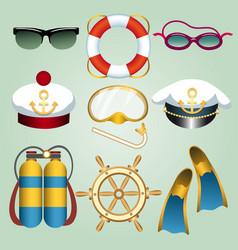 summer beach vacation cartoon emblem set vector image vector image