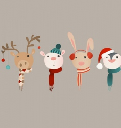 winter animals vector image