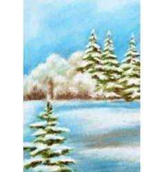 Winter Christmas Forest Landscape vector image