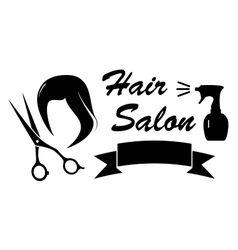 Beauty symbol with woman hair and scissors vector