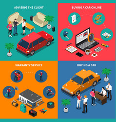 Car dealership isometric concept vector