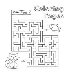 cartoon cat maze game vector image vector image